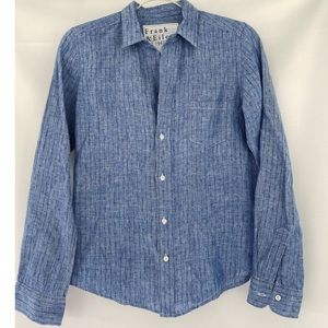 Frank & Eileen Barry Linen Chambray Print Shirt